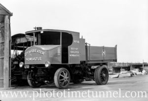 Steam truck operated by the council of the City of Greater Newcastle, NSW, during wartime petrol shortages. August 30, 1941. (3)