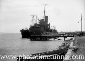 Minesweepers at North Stockton, Newcastle, NSW, circa 1940s.