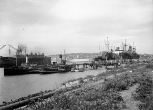 Shipping in Newcastle Harbour, October 4, 1945.