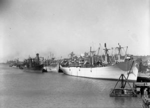 Shipping at Lee Wharf, Newcastle Harbour, October 4, 1945.