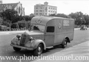 REO mobile canteen bought by the Victoria League for the city of Newcastle, NSW, in King Street on April 23, 1942.