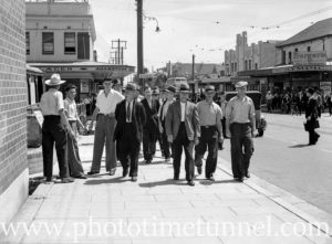 Coalmining union delegates leave an aggregate meeting at Adamstown, Newcastle, NSW, on December 16, 1940.