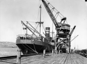 Ship Iron Prince at the coal cranes, Newcastle, NSW, August 16, 1935.