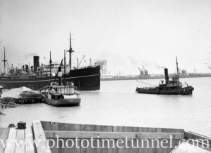 Tug Heroine tows the ship Bendigo past the small steamer Boambee in Newcastle Harbour, NSW, November 19, 1935.