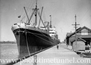 Ship Moreton Bay at Lee Wharf, Newcastle Harbour, NSW, December 13, 1935.