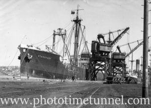 Ship Stassfurt at the coal cranes, Newcastle, NSW, November 5, 1935.