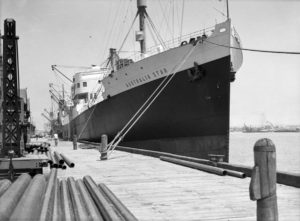 Ship Australia Star at Lee Wharf, Newcastle Harbour, NSW, November 13, 1935.