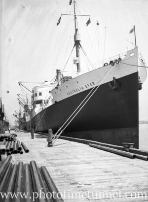 Ship Australia Star at Lee Wharf, Newcastle Harbour, NSW, November 13, 1935. (2)