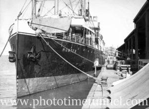 Passenger ship Hunter at the wharf, Newcastle, NSW, November 23, 1935.