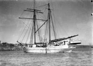 New Zealand schooner Huia in Newcastle Harbour, NSW, August 1935. (1)