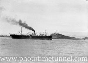 Ship Sagoland passing Nobbys, Newcastle, NSW, October 1935. (2)