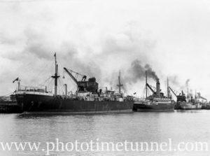 Ship Clan Farquhar at the coal cranes, Newcastle, NSW, October 1935.