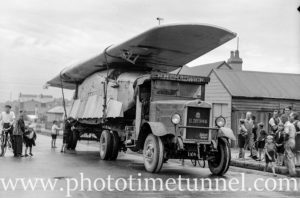 Aircraft loaded on a Chadwick's Leyland truck in Newcastle, NSW, bound for Sydney on December 3, 1935.