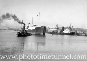 Ship Yarraville being towed by the tug Heroine in Newcastle Harbour, NSW, June 19, 1936. (2)