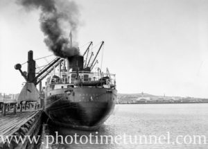 Stern view of ship Adelong in Newcastle Harbour, September 12, 1936.