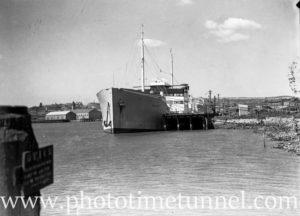 Oil tanker Havfru in Newcastle Harbour, NSW, September 11, 1936.