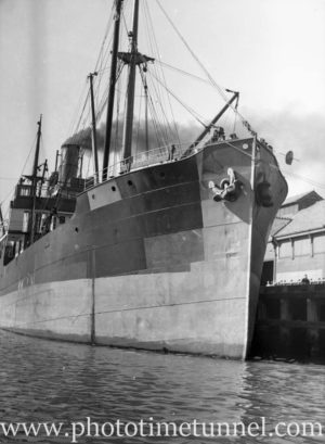 Ship at the wharf in Newcastle, NSW, September 22, 1936.