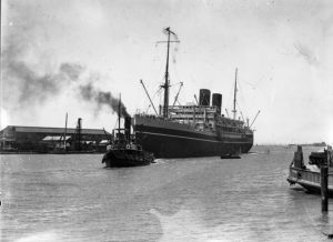 P&O liner Comorin entering Newcastle Harbour, NSW, on January 31, 1936. (1)