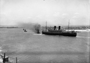 P&O liner Comorin entering Newcastle Harbour, NSW, on January 31, 1936. (2)