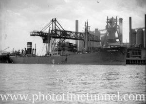 Ship Iron Baron at Port Waratah, Newcastle, NSW, October 30, 1936.