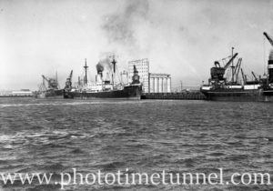 Ship Stassfurt in Newcastle Harbour, NSW, April 2, 1936. (1)