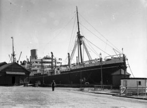 Ship Moreton Bay in Newcastle Harbour, NSW, April 20, 1936.