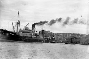Ship Dundula grounded on a mudbank in Newcastle Harbour, NSW, March 17, 1936. (2)