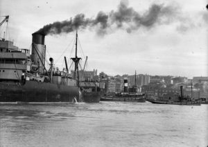 Ship Dundula grounded on a mudbank in Newcastle Harbour, NSW, March 17, 1936. (4)