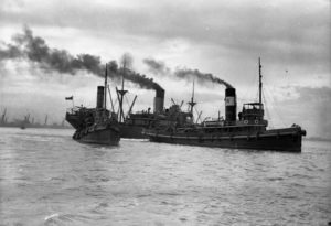 Ship Dundula grounded on a mudbank in Newcastle Harbour, NSW, March 17, 1936. (5)