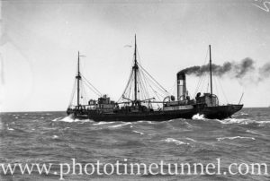 Collier William McArthur off the coast of Newcastle, NSW, January 29, 1937.