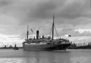 Ship Karoola in Newcastle Harbour, NSW, April 6, 1937.