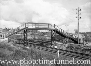 Pedestrian bridge over the railway line at Cardiff, NSW. August 6, 1937.