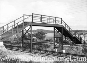 Pedestrian bridge over the railway line at Cardiff, NSW. August 6, 1937. (2)