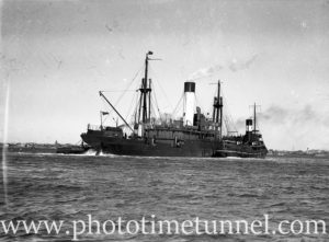Ship Burwah grounded on a mudbank in Newcastle Harbour, NSW, August 16, 1937. (2)