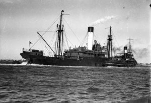 Ship Burwah grounded on a mudbank in Newcastle Harbour, NSW, August 16, 1937. (3)