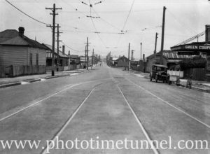 Port Waratah tramline, Downie Street Maryville, Newcastle, NSW, November 18, 1938. (1)