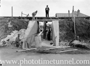 Building a subway at the corner of Berner and Merewether Streets, Merewether, NSW, April 28, 1938.