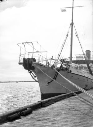 Cable ship Recorder in Newcastle Harbour, circa 1940s.