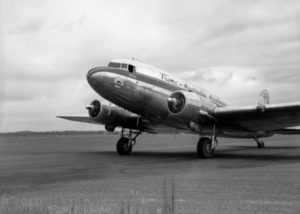 TAA Douglas DC3 in first commercial flight to Williamtown Airport, Newcastle, February 20, 1948. (2)