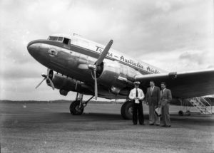 TAA Douglas DC3 in first commercial flight to Williamtown Airport, Newcastle, February 20, 1948. (3)