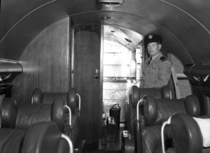 Inside the cabin of the Commonwealth Bank's Douglas DC-3 aircraft, VH-CBA at Williamtown Airport, near Newcastle NSW, on September 17, 1947.