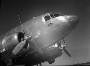 The Commonwealth Bank's Douglas DC-3 aircraft, VH-CBA at Williamtown Airport, near Newcastle NSW, on September 17, 1947. (4)