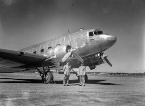 The Commonwealth Bank's Douglas DC-3 aircraft, VH-CBA at Williamtown Airport, near Newcastle NSW, on September 17, 1947. (5)