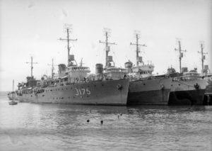 Australian warships including HMAS Cessnock in Newcastle Harbour, June 1946.