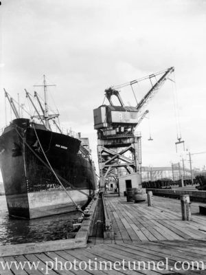 Ship River Burdekin at the coal cranes, Newcastle, NSW, April 23, 1946.
