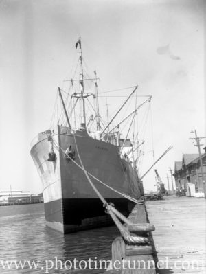 Ship Lalandia at Lee Wharf, Newcastle Harbour, NSW, October 13, 1946. (1)