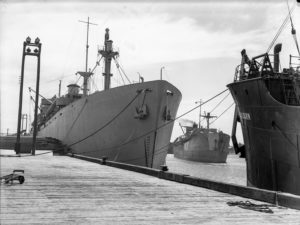 Shipping at Lee Wharf, Newcastle Harbour, October 31, 1946.