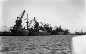 Shipping in The Basin, Newcastle Harbour, February 7, 1946.