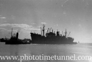 Ship River Hunter in Newcastle Harbour, NSW, October 2, 1946.