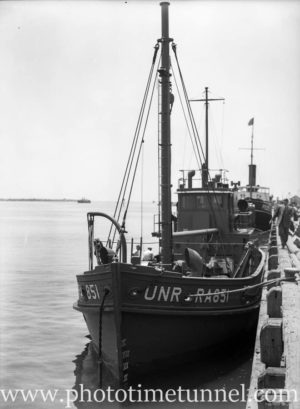 Boat for UNRRA (United Nations Relief and Rehabilitation Administration) in Newcastle Harbour, NSW, February 11, 1946. (2)